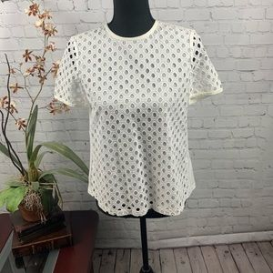 Tory Burch White Eyelet Top, Size 0 NWT